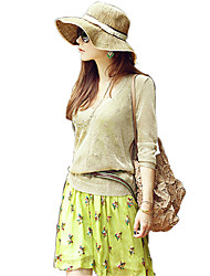 Women Straw Solid Sun Floppy Hat,Cute / Party / Casual Spring / Summer / Fall