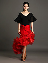 High-quality Spandex and Viscose with Rhinestones and Flower(s) Latin Dance Outfits for Women's Performance