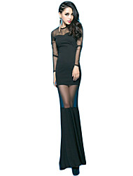 Women's Sexy Solid Trumpet/Mermaid Dress,Round Neck Maxi Polyester