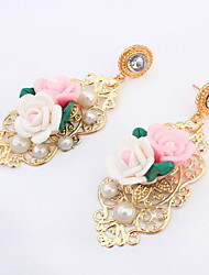 European And American Fashion Pink and White Flower with Green Leaf Hollow Drop Earrings Women Accessories