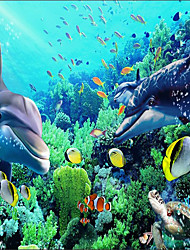 """(9'8 """"x 8'2""""ft)Photo Wallpaper-3d Silk Cloth  Underwater World Dolphin Backdrop  Large Wall Mural Wall Paper"""