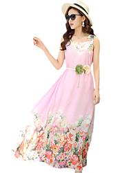 2016 Summer Women New Bohemian Beach Chiffon Flower Print Dress
