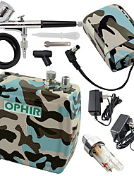 OPHIR Blue Camouflage 0.3mm Adjustable Airbrush Kit with Mini Air Compressor for Temporary Tattoo Hobby
