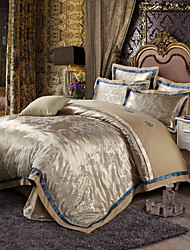 Fashionable  Queen King Size Bedding Set Luxury Silk Cotton Blend Duvet Cover Sets