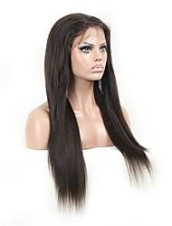 """unprocess 8 """"-24"""" yaki em linha reta do laço do cabelo humano perucas frente brasileiros"""