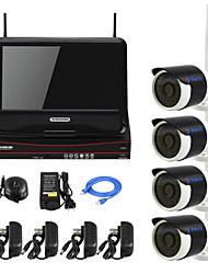yanse® plug and play de 10 pulgadas de la cámara IP de la seguridad visión kit inalámbrico NVR pantalla LCD p2p 720p HD IR noche sistema