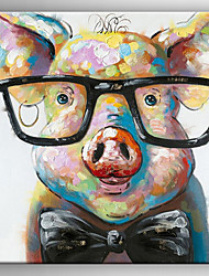 Oil Painting a Pig Wearing Glassess by Knife Hand Painted Canvas with Stretched Framed Ready to Hang