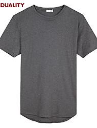 Trenduality® Hommes Col Arrondi Manche Courtes T-shirt Noir / Blanc / Gris foncé-63008