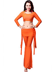 Belly Dance Outfits Women's Training Tulle Draped 3 Pieces Black / Blue / Orange / Purple Belly Dance Long Sleeve Natural