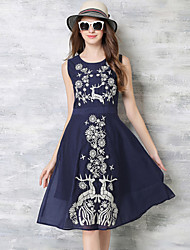 Women's Vintage Print Chiffon Dress,Round Neck Knee-length Polyester