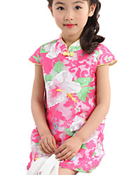Girl's Blue / Pink / Yellow Dress,Floral Cotton / Polyester Summer