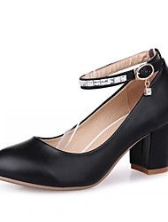 Women's Shoes Leatherette Chunky Heel Heels Heels Office & Career / Party & Evening / Dress Black / Red / White