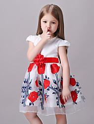 Girl's White Flower Dress Polyester Summer
