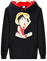 Inspired by One Piece Monkey D. Luffy Anime Cosplay Costumes Cosplay Hoodies Print Long Sleeve Top For Male