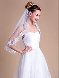 Véus de Noiva Uma Camada Véu Cotovelo Borda com aplicação de Renda 29,53 cm (75cm) Renda Branco / Marfim