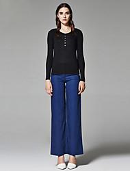 ZigZag® Femme Col Arrondi Manche Longues T-shirt Noir - 11028
