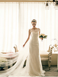 Trumpet/Mermaid Wedding Dress-Champagne Cathedral Train Bateau Lace / Satin / Tulle