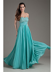 Formal Evening Dress A-line Strapless Floor-length Chiffon with Beading