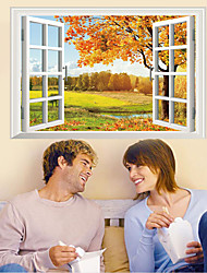3D Wall Stickers Wall Decals, False Window Beautiful Autumn Landscape PVC Wall Sticker