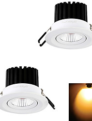 YouOkLight® 2PCS 7W 1xCOB 650LM 3000K  Warm White LED Recessed Ceiling Light (AC 110V/220V)
