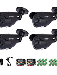 ZOSI® 4 pcs Camera Kit 800TVL IR Cut Night Vision 120ft Waterproof Outdoor CCTV Seurity Camera