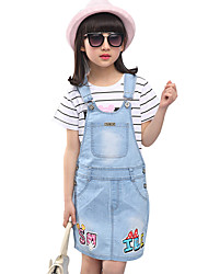 Girl's Cotton Summer Alphabet Denim Suspender Skirt