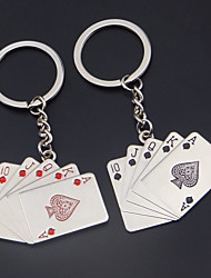 A Pair Alloy Poker Straight Flush Keychain Car Key Ring Couple Lover Key Chain  Wedding Gift Keychains