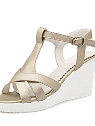 Women's Shoes Wedge Heel Wedges / Slingback / Open Toe Sandals Dress / Casual White / Silver / Gold