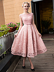 A-Line Scoop Neck Tea Length Lace Tulle Cocktail Party Homecoming Prom Dress with Beading Bow(s) Lace Pearl Detailing Sequins by QZ