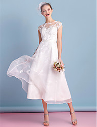 Lanting Bride® A-line Wedding Dress Tea-length Bateau Organza with Lace / Sash / Ribbon / Appliques / Bow