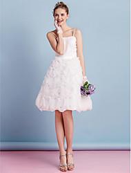 Lanting mariée une ligne bretelles robe de mariée-genou spaghetti organza / satin