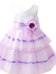 Girl's Blue / Purple Dress Cotton / Polyester Summer