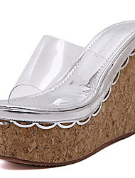 Women's Shoes Leatherette Wedge Heel Wedges / Heels Sandals / Slippers Outdoor / Casual White / Silver