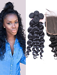 6A Brazilian Virgin Hair With Closure 5x5 Hair Bundles With Lace Closures 10-28'' Brazilian Loose Wave