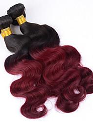 3bundles 12-26inch бразильский виргинский цвет тела тела ombre цвета 1b / 99j необработанный человеческий волос соткает горячее сбывание.