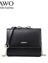 NAWO Women Cowhide Shoulder Bag Red / Black-N153191