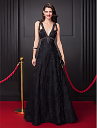 TS Couture Prom Formal Evening Dress - Celebrity Style A-line V-neck Floor-length Lace with Beading