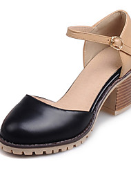 Women's Shoes Chunky Heel Heels / Round Toe Sandals Dress / Casual Black / Pink / White / Beige