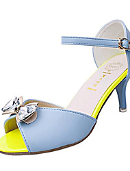 Women's Shoes Leatherette Summer Heels / Peep Toe Party & Evening Stiletto Heel Bowknot / Buckle Blue / Purple / White