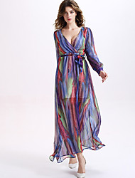 Women's Party/Cocktail Sexy / Vintage Swing Dress,Print Deep V Maxi Long Sleeve Multi-color Silk / Rayon Summer