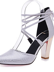 Women's Shoes Leatherette Chunky Heel Heels Heels Wedding / Office & Career / Dress Black / Red / White / Beige