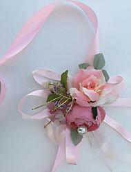 Petit bouquet de fleurs au poignet(Rose,Coton / Soie)Roses