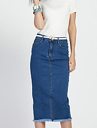 Women's Solid Slim Over Hip Casual Split Sexy Large Size Skirts,Plus Size / Vintage Midi