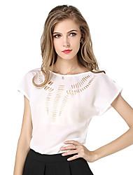 Ronde hals-Polyester-Uitgesneden-Vrouwen-T-shirt-Korte mouw