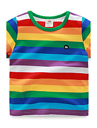 BK  6-12 Y Boys Personalized Stripes Cotton Cartoon T-shirt Tee Short Sleeve Summer Kids Top