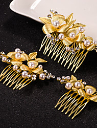 3pcs Leaf Flower Shape Crystal Pearl Hair Combs Jewelry for Wedding Party (Set of 3)