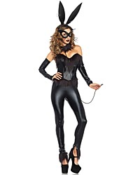 Sexy Black Patent Leather Bunny Night Clubs Cosplay Clothing (Mask+Ears+Gloves)