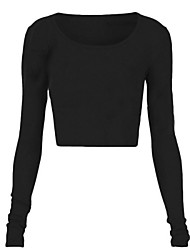 Women's Casual/Daily Sexy Summer T-shirt,Solid Round Neck Long Sleeve White / Black / Gray Cotton Translucent