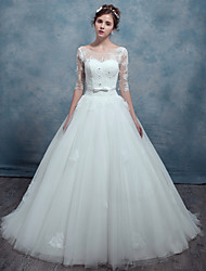 A-line Wedding Dress Sweep / Brush Train Scoop Lace / Tulle with Sash / Ribbon / Appliques / Beading / Lace