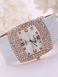 Lady's Large Crystal Case Gold Leather Band Wrist Fashion Dress Watch Jewelry for Wedding Party Cool Watches Unique Watches
